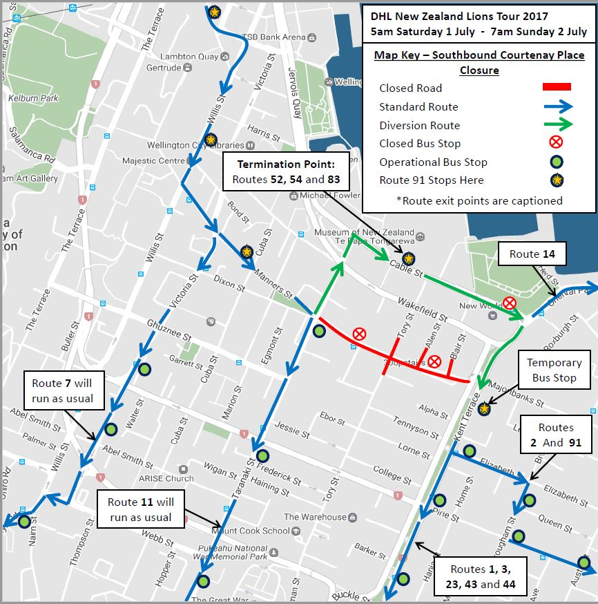 Southbound bus routes - Sat 1 July to Sunday 2 July