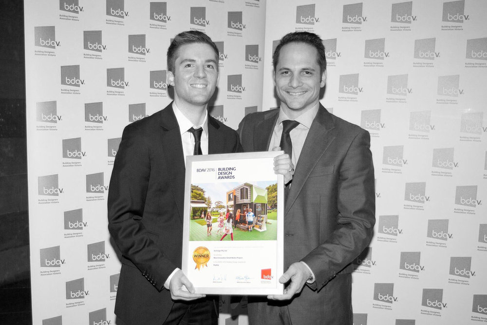 Archsign Designer Lachlan Michael with James Hardie Specification Manager Florent Hostein with BDAV Award for 'Best Small Works Project' 2016.