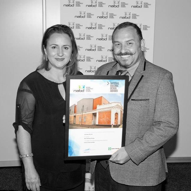 Archsign Director's Diahann Lombo and Peter Lombo with the NABD   National Alliance of Building Designers   Award   for 'Best Heritage Conservation Project' 2014.