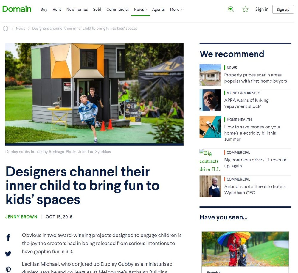 "Domain Article  -  '""Designers channel their inner child to bring fun to kids' spaces""  by Jenny Brown 15/10/16"