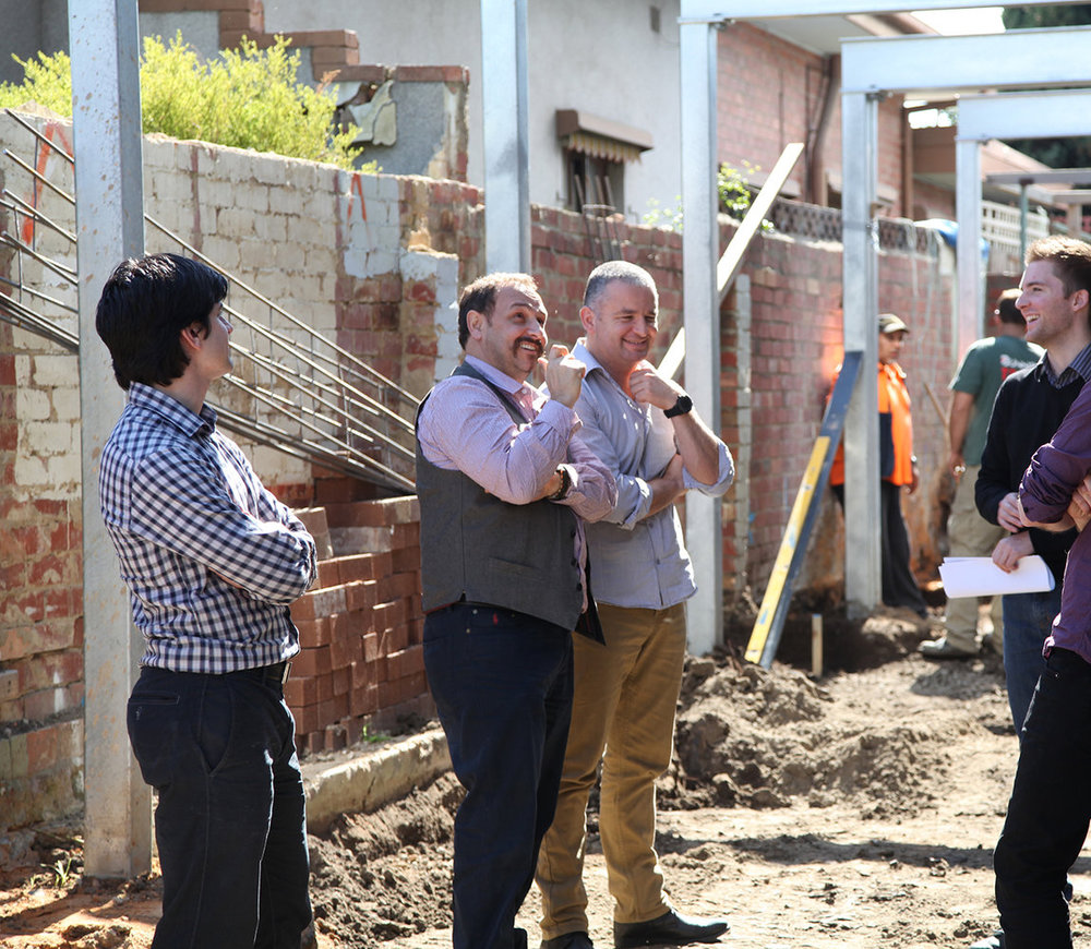 Director's Maurice, Peter and Designer Lachlan with builder on a site inspection.