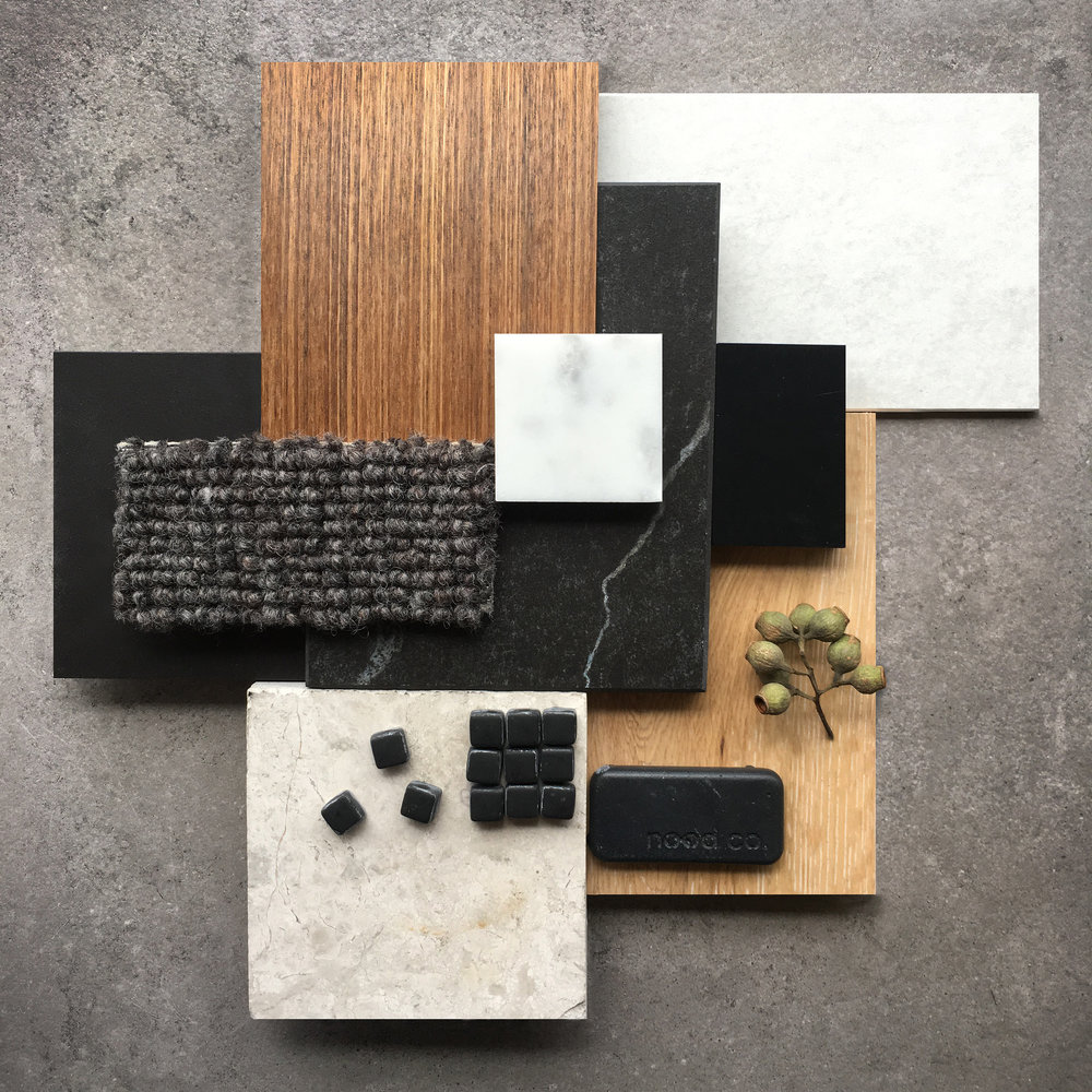 Interior design palette with selected materials from our preferred suppliers.