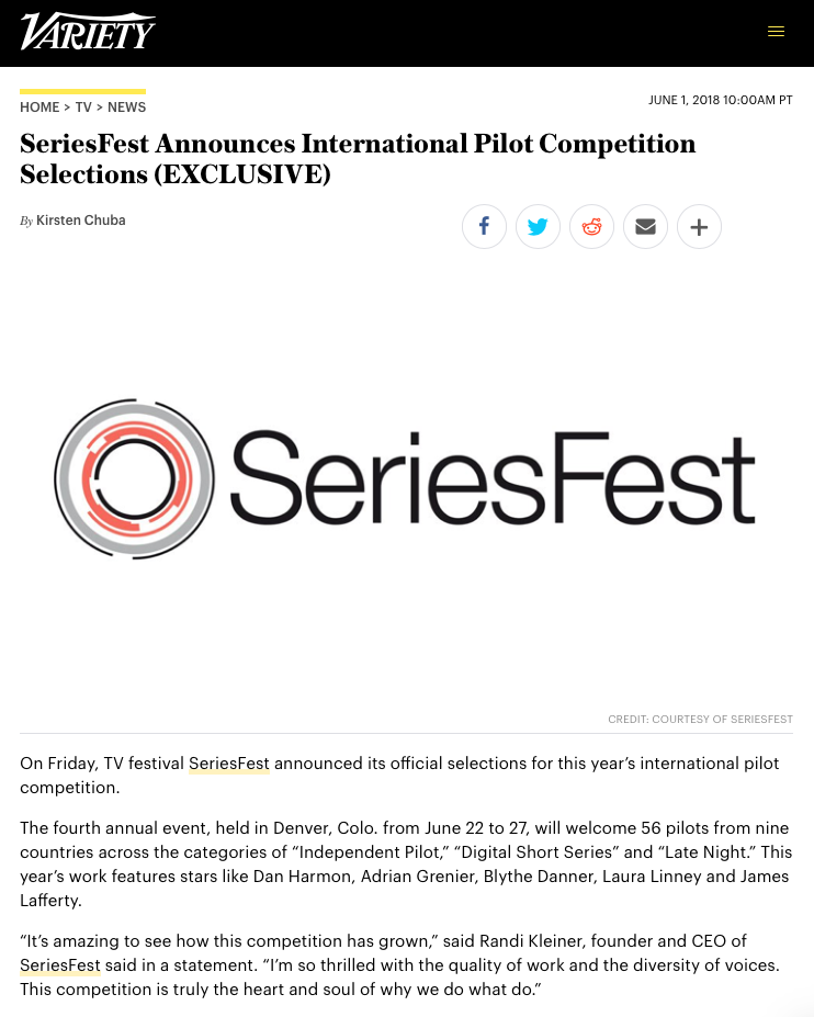 VARIETY - SeriesFest Announces International Pilot Competition Selections (EXCLUSIVE)