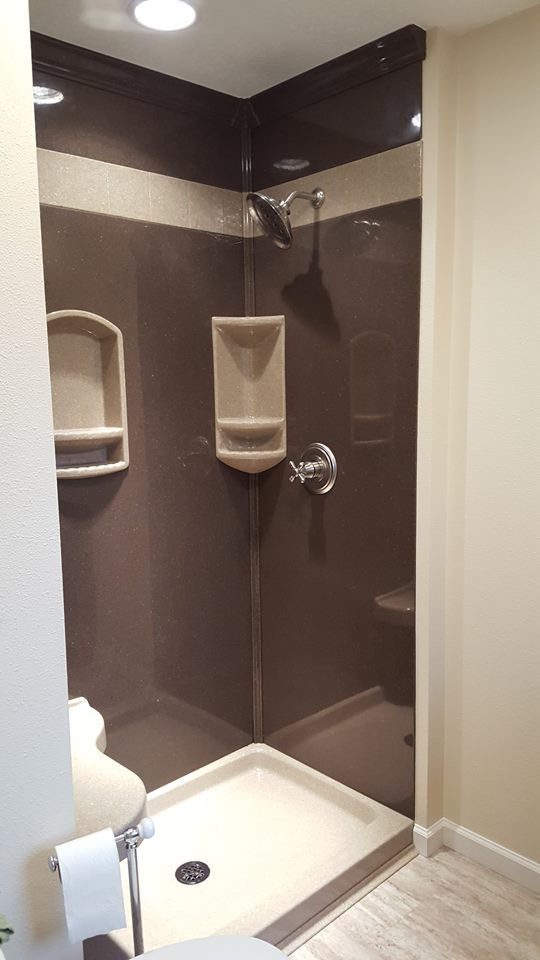 Here's a picture the Onyx shower we put in the bathroom at our office.