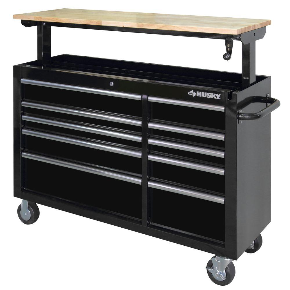 7. Tool Storage - Husky 52 in. 10-Drawer Mobile Workbench with Adjustable-Height TopAvailable at The Home Depot for $339