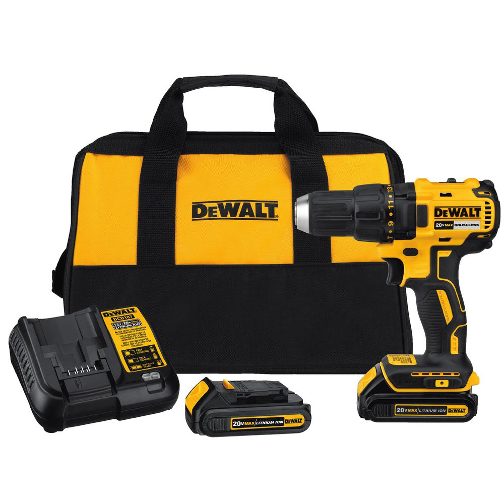 8. Cordless Drill - DEWALT 20-Volt MAX Lithium-Ion Cordless Brushless Compact Drill Driver with (2) Batteries 1.3Ah, Charger and Bag Available at The Home Depot for $99