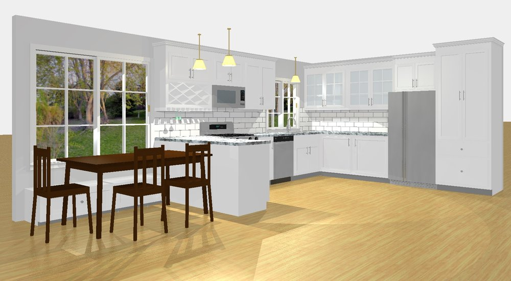 We can give you a 3D mock up of your kitchen remodel with your estimate.