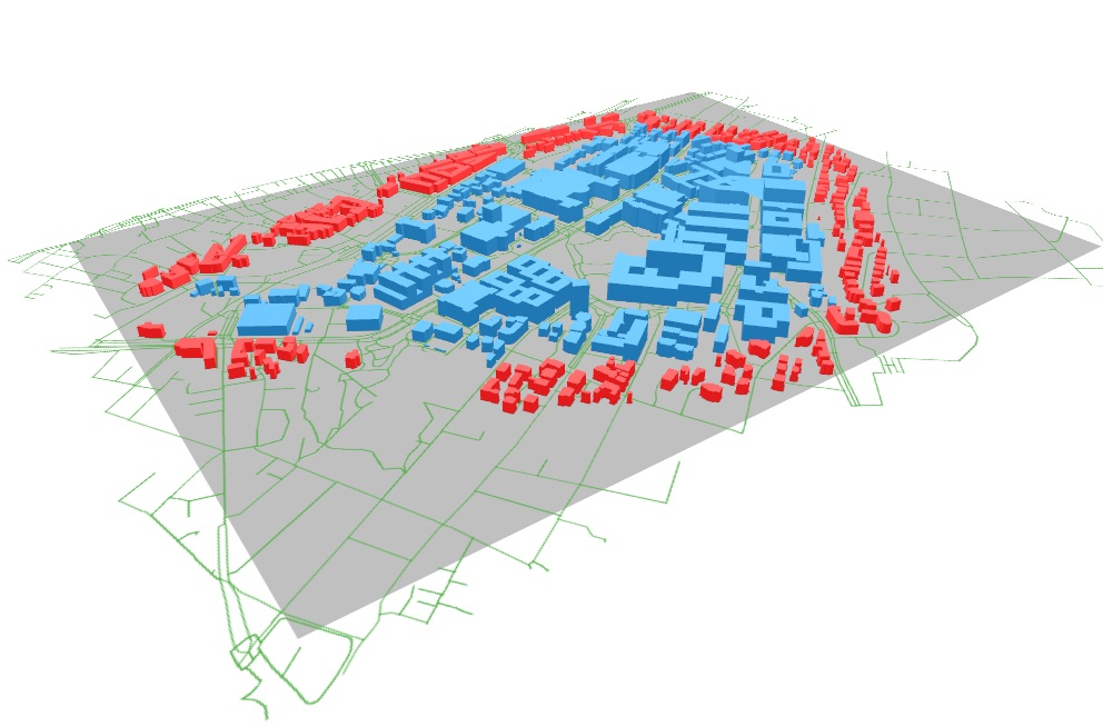 Blue: Zone of analysis in CEA, Red: District or geometry of surrounding buildings in CEA, Grey: Digital Elevation Model of the terrain, Green (RESULT): street network