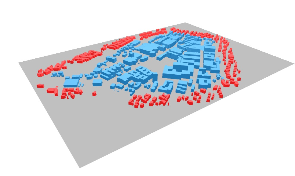 Blue: Zone of analysis in CEA, Red: District or geometry of surrounding buildings in CEA, Grey (RESULT): Digital Elevation Model of the terrain.
