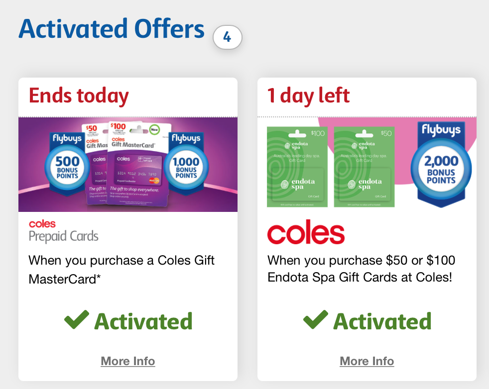 Coles flybuys bonus points for gift card purchases