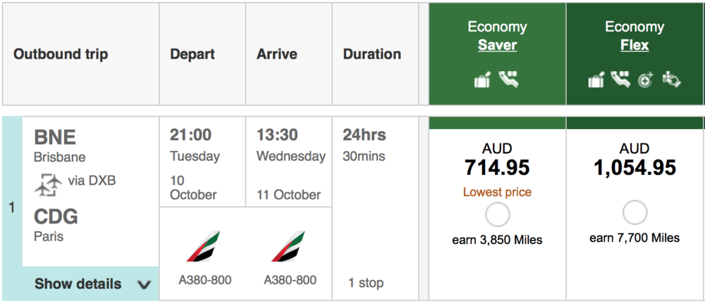 Emirates Economy Saver and Economy Flex fares from Brisbane to Paris