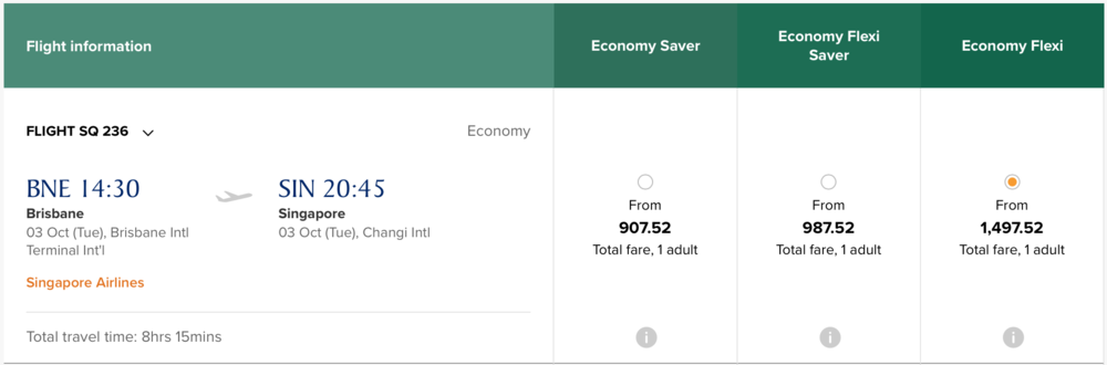 Singapore Airlines Economy Flexi booking