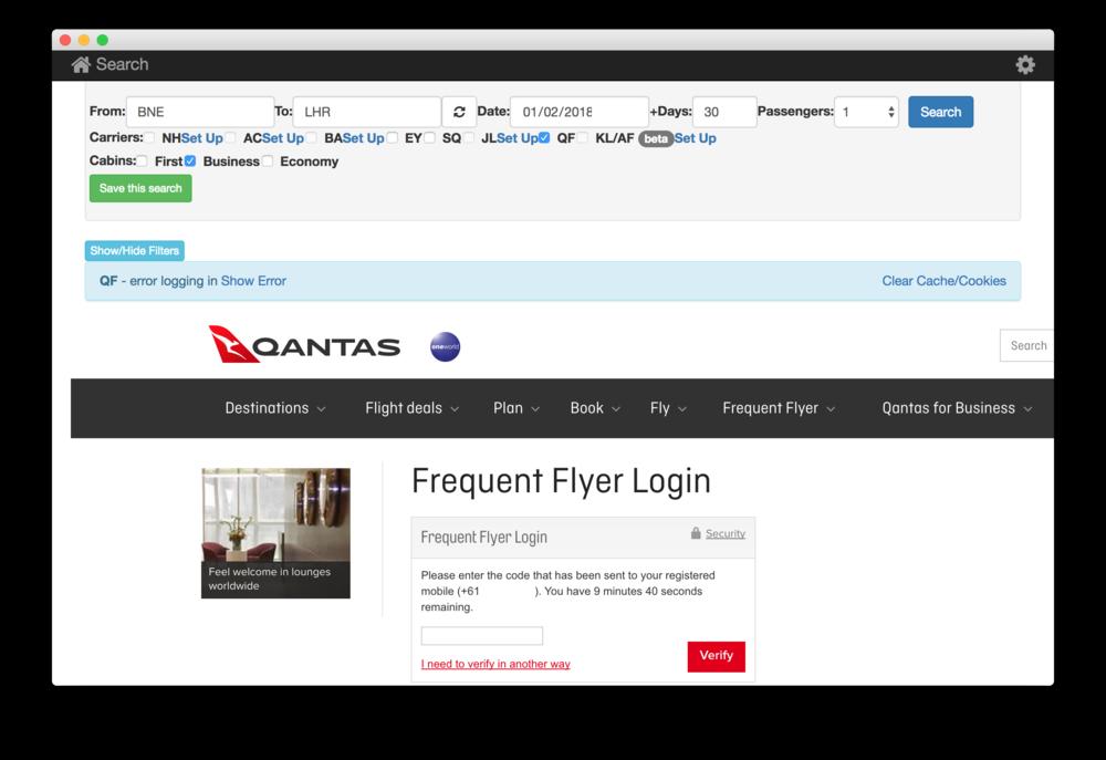Qantas Two Factor Authentication