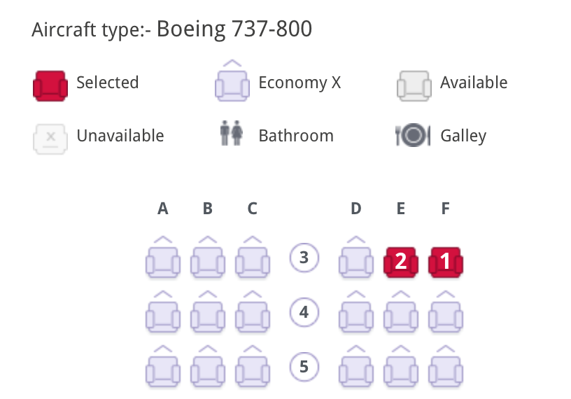 Economy X seat selection on Virgin Australia booking page