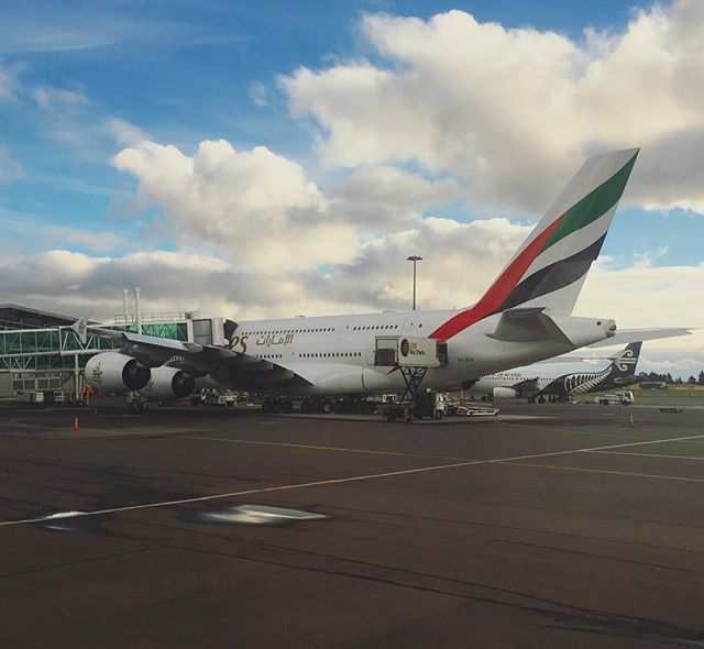 Spotted this Emirates A380 at Christchurch International last week... it's amazing how many of these massive birds 🐦 Emirates has. Definitely my favourite aircraft.