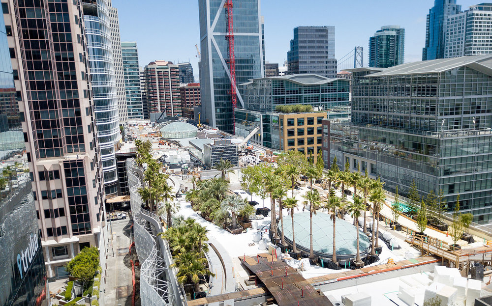 Top View of San Francisco's Transbay Transit Center's rooftop park.