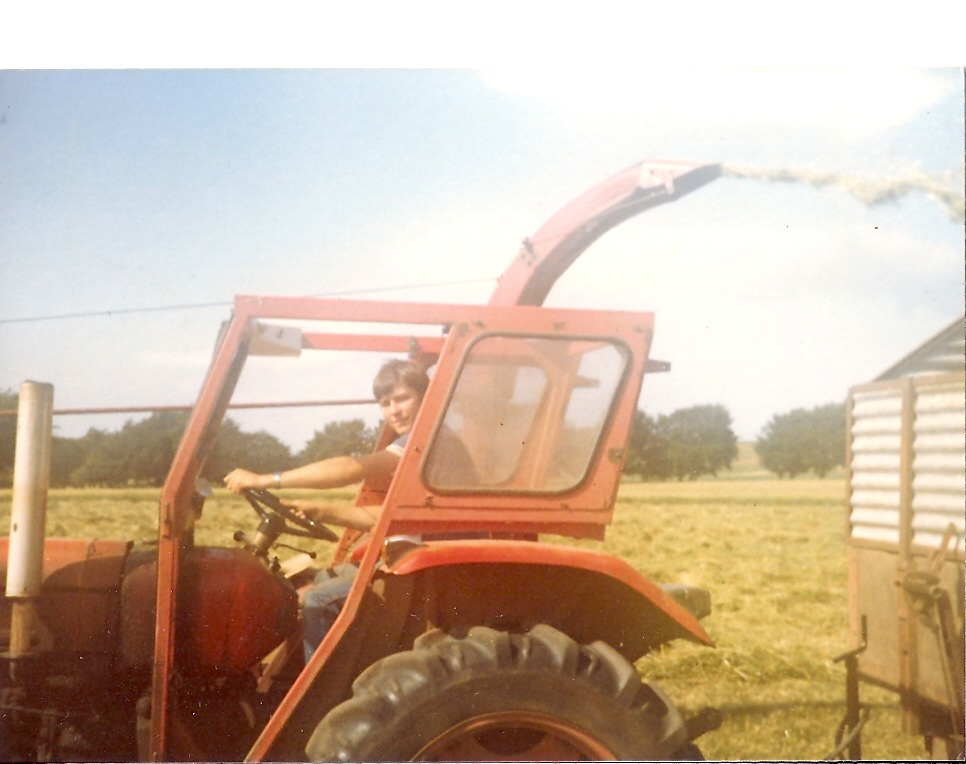 Gavin driving the tractor in Scotland