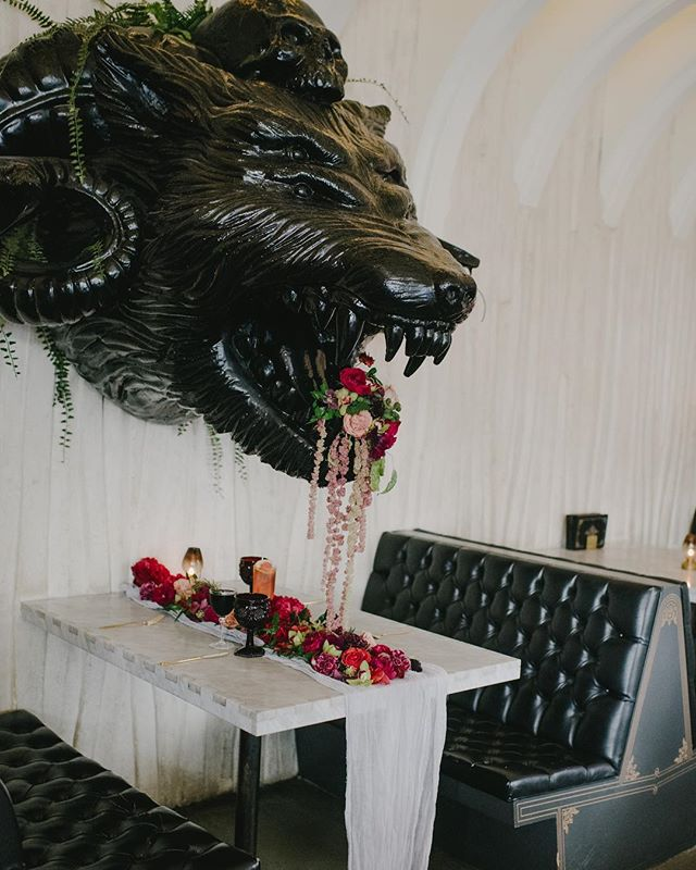 Feast, florals and the beast.  Photo: @thisradlove Venue / Food & Cocktails: @barkindred Florals / Design: @thefloralcraft Hair & Makeup: @erin_scissorhands Coordinated / Styled: @urbanshindigs Menswear Designer: @michaelkors Menswear boutique: @friartux Furniture Rentals: @ccvintagerentals  Dish rentals: @notmydish Paper Goods: @fourthingspaper Female Model: @tawneegomez Male Model: @djluisthebeast Magic makers: @theweddingcoven