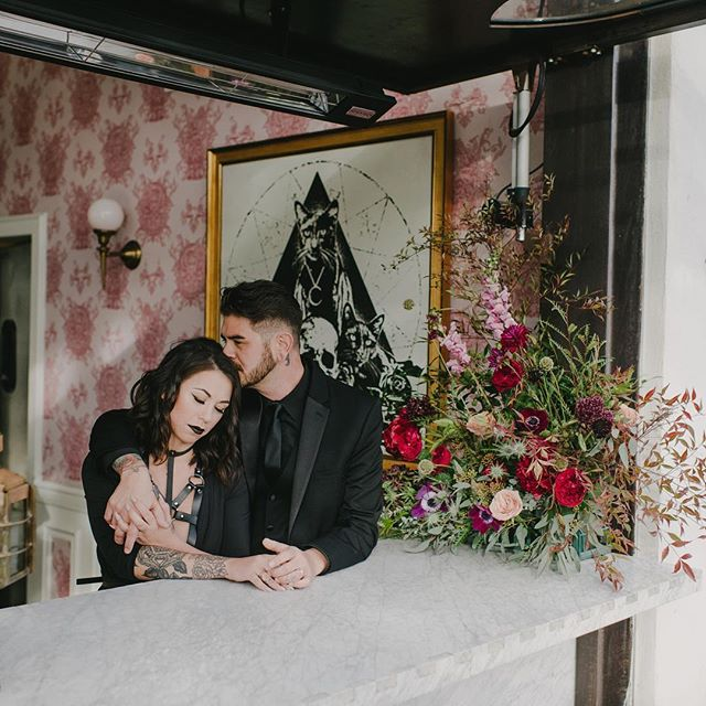 Be my gothic valentine.  Photo: @thisradlove Venue / Food & Cocktails: @barkindred Florals / Design: @thefloralcraft Hair & Makeup: @erin_scissorhands Coordinated / Styled: @urbanshindigs Menswear Designer: @michaelkors Menswear boutique: @friartux Furniture Rentals: @ccvintagerentals  Dish rentals: @notmydish Paper Goods: @fourthingspaper Female Model: @tawneegomez Male Model: @djluisthebeast Magic makers: @theweddingcoven