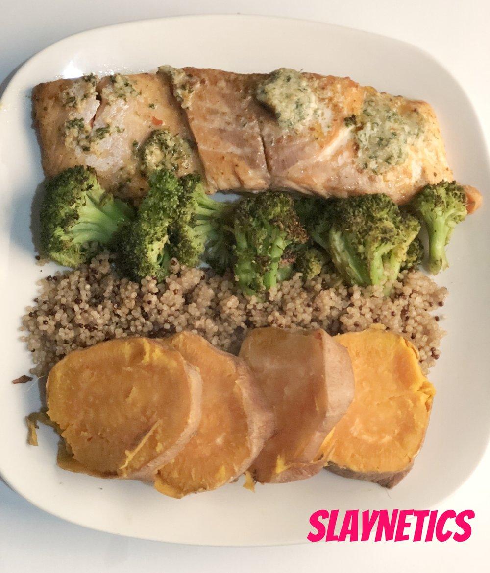 SALMON   Salmon, sweet potato, quinoa, broccoli