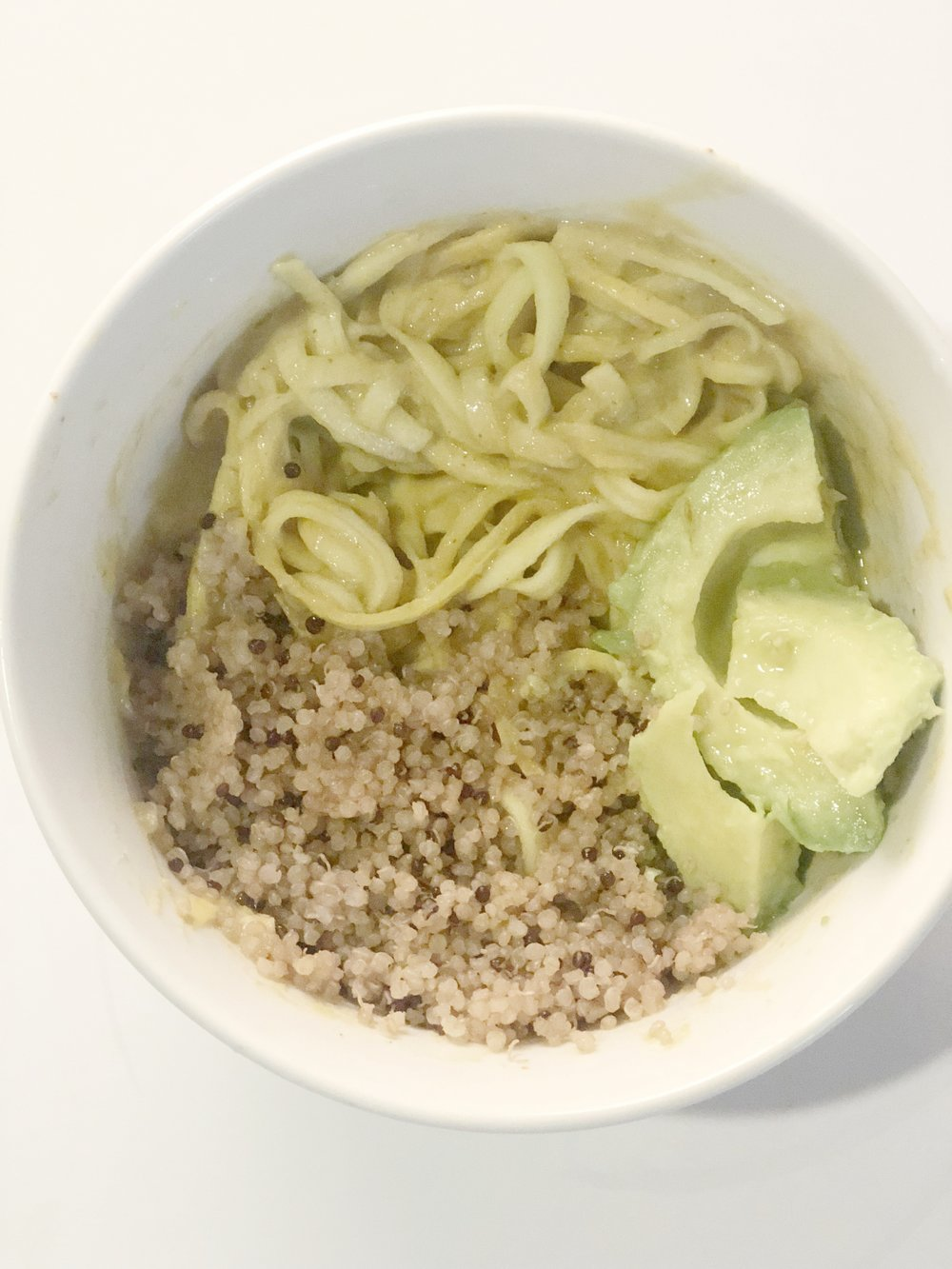Protein Bowl   Quinoa, avocado, zuchinni noodles, lemon, lime