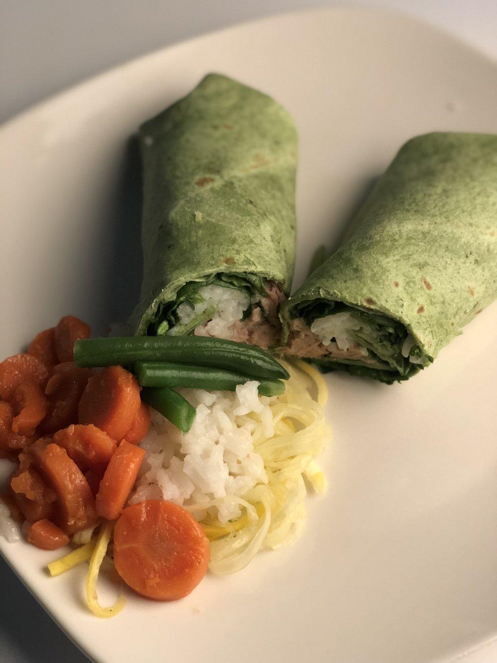 Green Spinach Tuna Wrap   Spinach wrap, Plain greek Yogurt, tuna, white rice