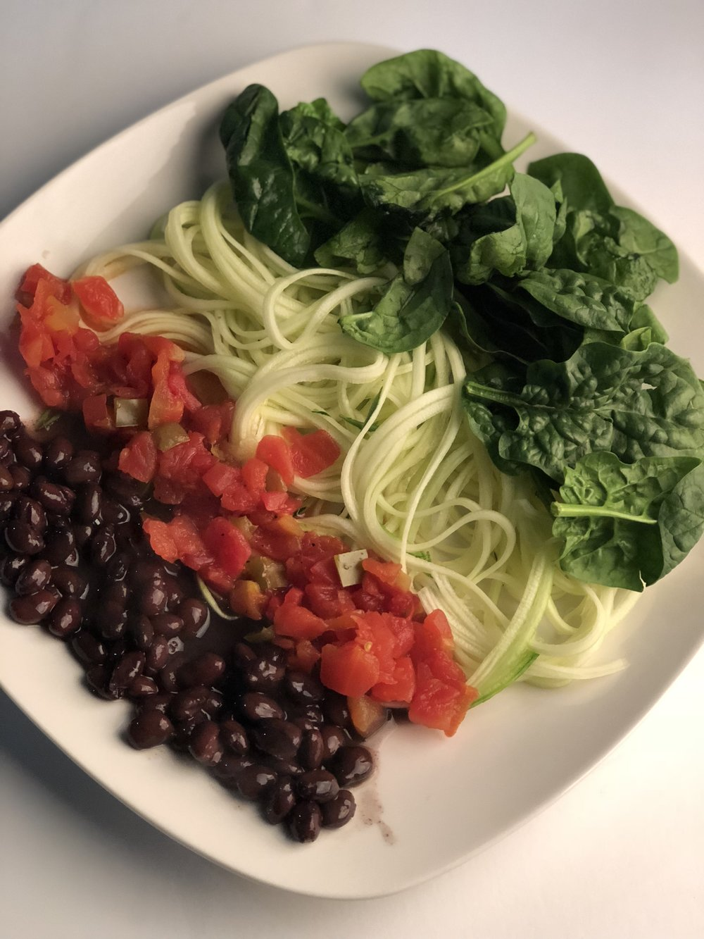 Vegan Platter   Spinach, Zuchinni Noodles, black beans, Spicy habanera sauce, (rice is optional)