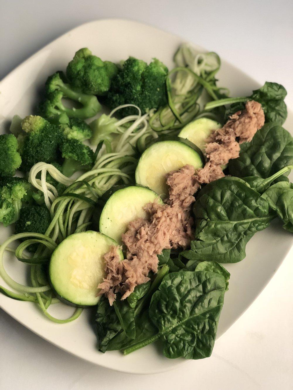 Vegan Dish   Spinach, cucumbers, tuna, spiralized zucchini, broccoli