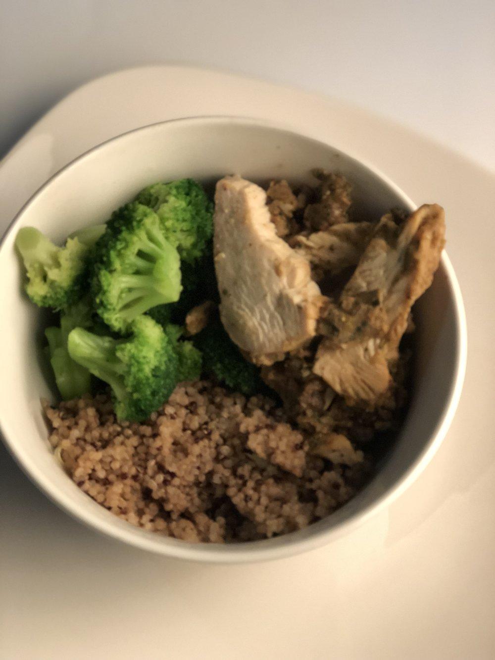 Rice Bowl   6 ounces of chicken, broccoli, quinoa, lime