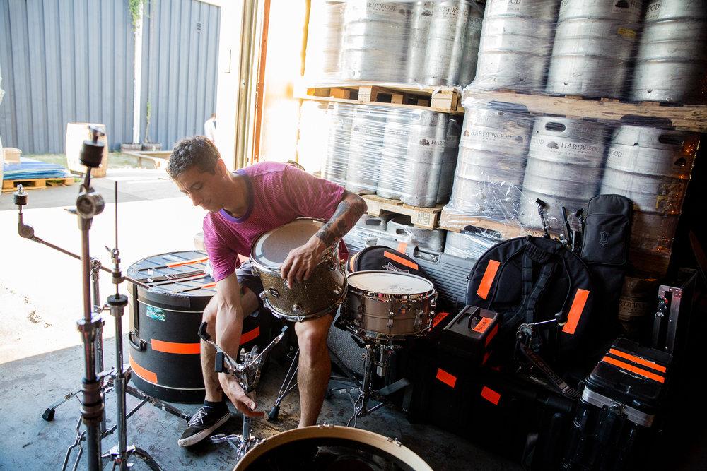 Drum setup at Harywood Brewery.