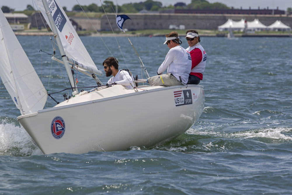 Rick Doerr, Hugh Freund and Brad Kendell US Sonar Paralympic team sailing at Clagett 2015 credit Clagett Regatta- Billy Black.jpg