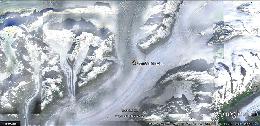 Research: Google Earth's view of the Columbia Glacier gave us perspective images of the glacier