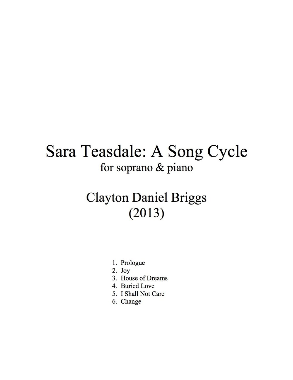 Sara Teasdale A Song Cycle Clayton Daniel Briggs