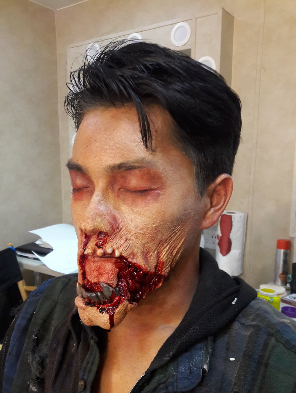 Fight of the Living Dead- Season 2, 2017  Production Company: YouTube Red & The Alpine Labs  SFX Makeup Dept. Head: Tommy Pietch  Makeup Provided by: EBA Performance Makeup  Prosthetic: Sculpted by Me, Moulded by Tommy Pietch, Foam Run by Laney Chantal White