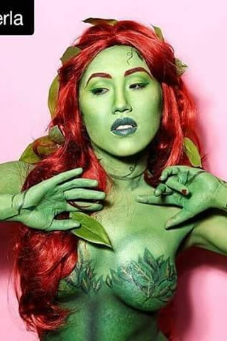 Poison Ivy Body Paint, 2017  Personal Project  Photographer: Justin Baker  Model: Kate Le  Synthetic wig curled, styled, and adorned with leaves