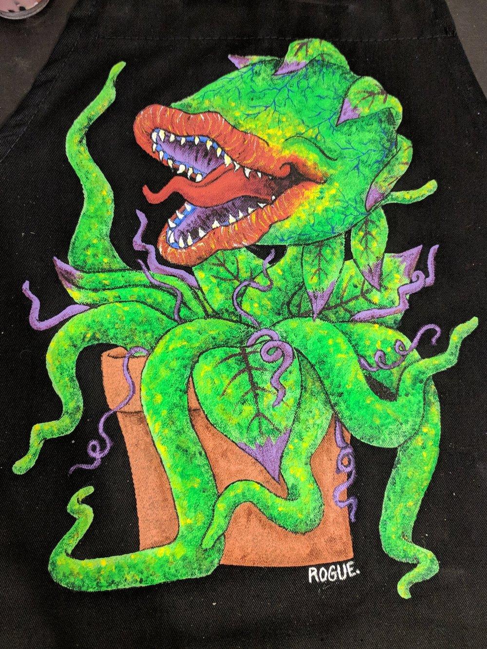 Audrey 2, 2018  Acrylic on canvas apron