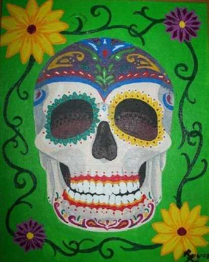 Day of the Dead Skull 1,  2008  Acrylic on canvas board