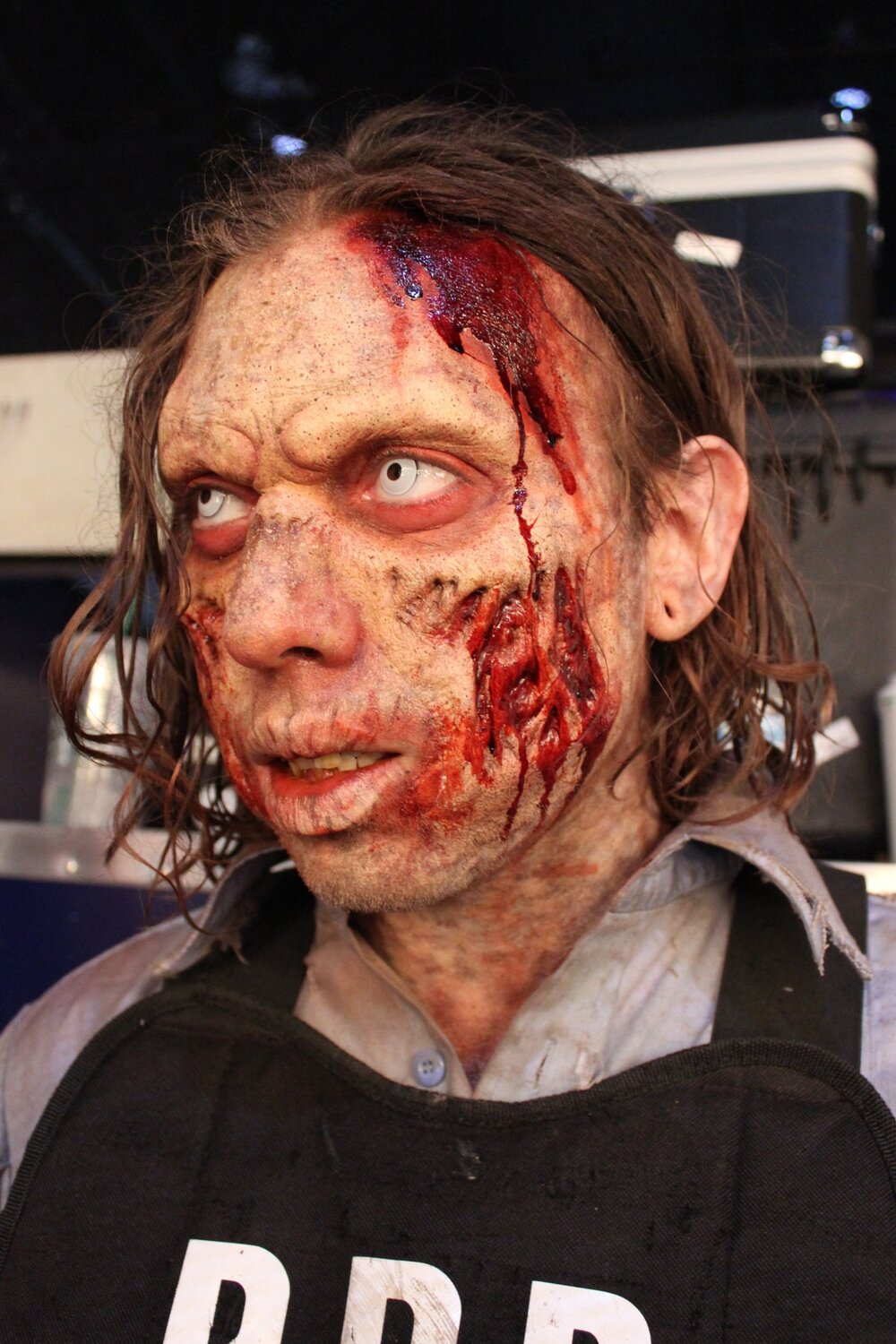 E3: Resident Evil 2, 2018 Production: Resident Evil 2 & Capcom Makeup Department Head: Sherrie Long Actor: William Galarza Makeup provided by: RBFX, EBA Performance Makeup, PT Material, & Mouth FX