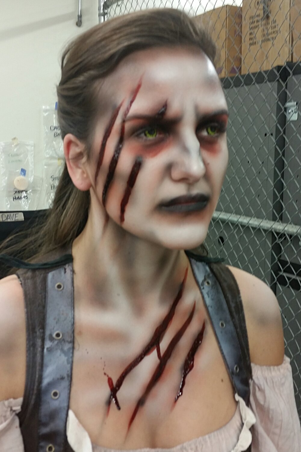 Six Flags Fright Fest, 2015. 10 minute application. Scare Actor: Noelle Stewart Makeup provided by: Premier Products Inc.