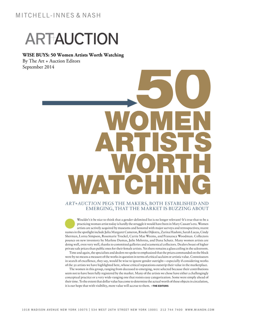 50 Women Artists Worth Watchin  g; Nancy Graves,  Art & Auction, September 2014