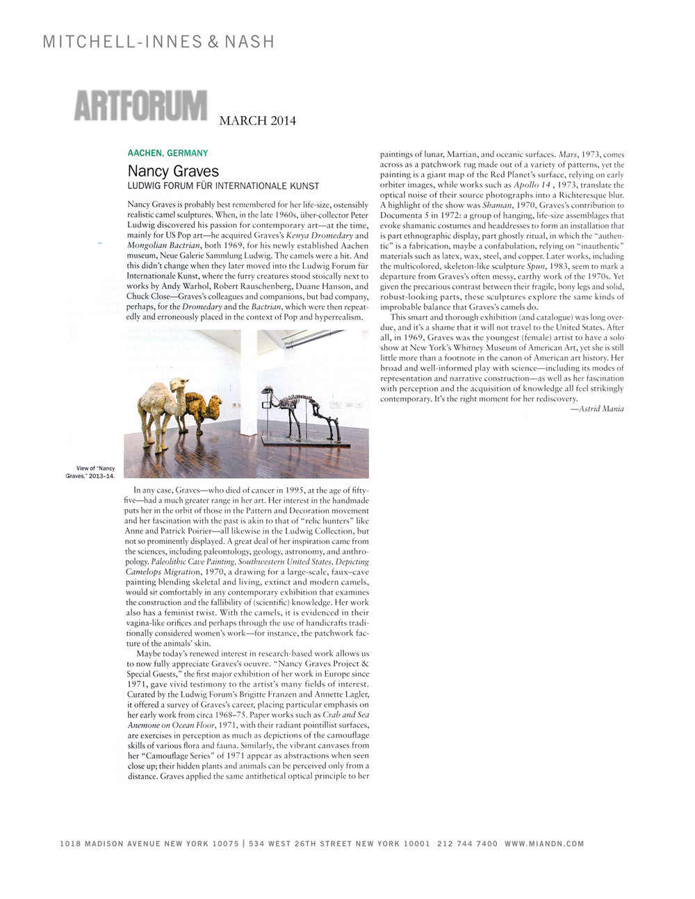 Nancy Graves at the Ludwig Forum, Aachen,  exhibition review by Astrid Mania, Artforum, March 2014
