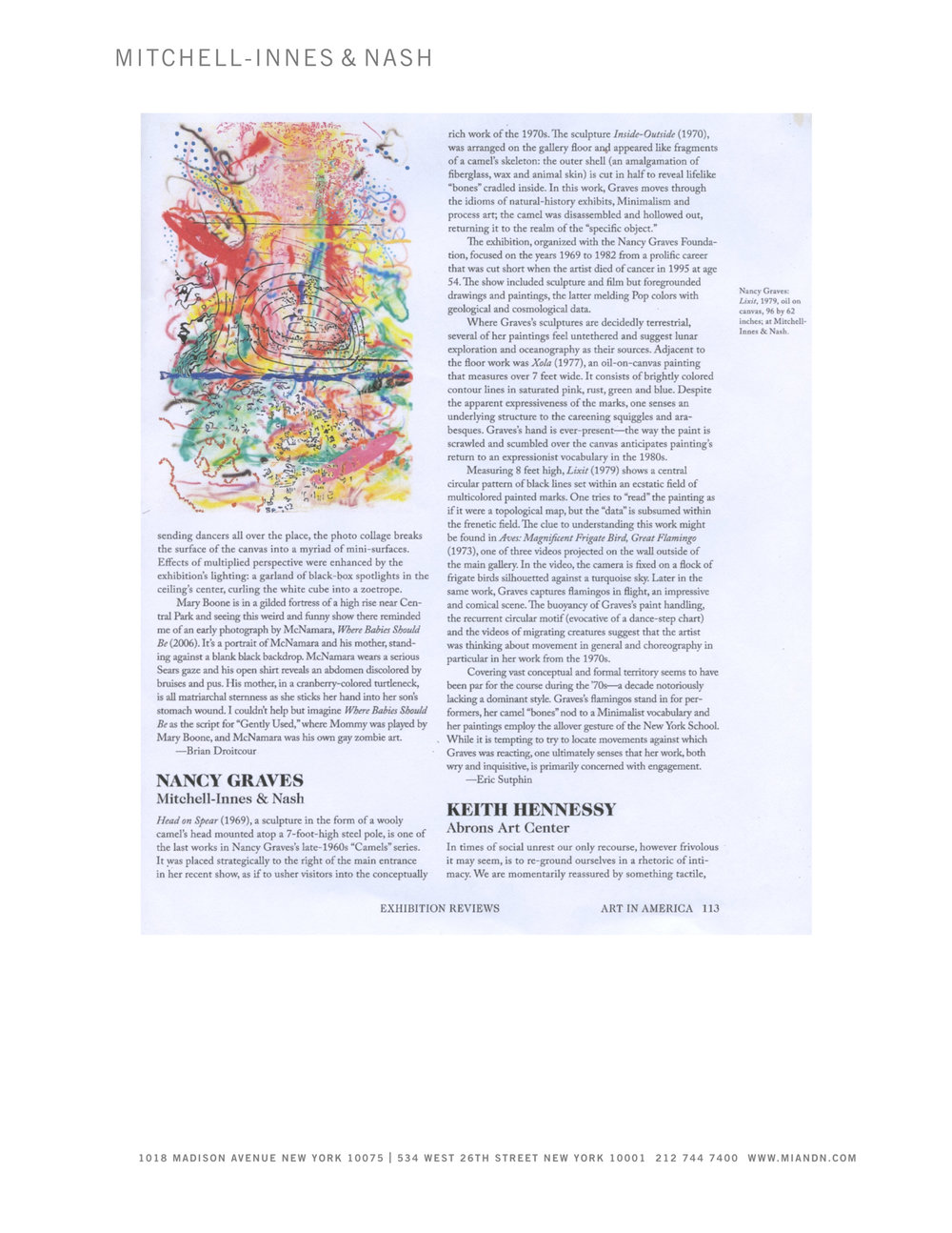 Nancy Graves , Exhibition review by Eric Sutphin, Art In America, April, 2015