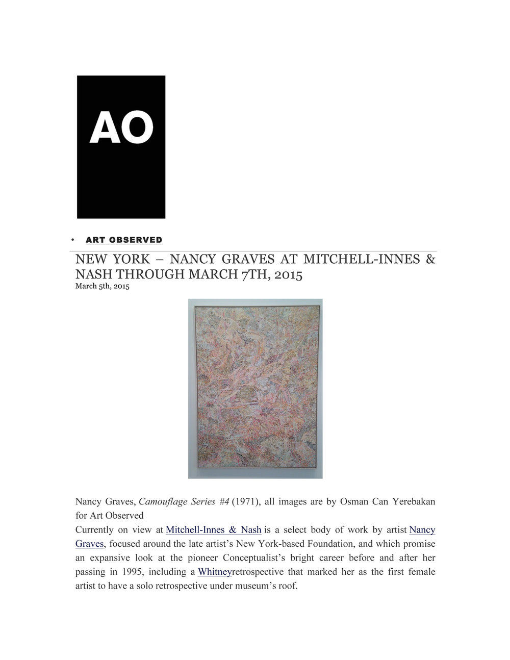 Nancy Graves , review by O.C. Yerebakan, Art Observed, March 2015