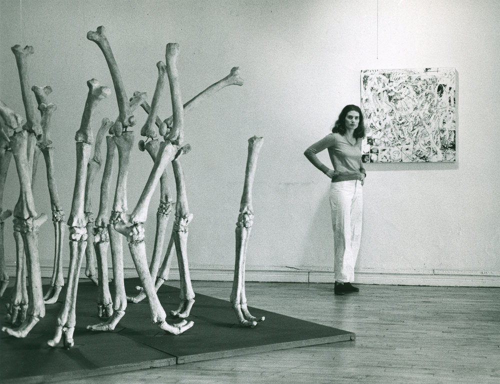 Nancy Graves in her SoHo loft with the sculpture  Variability of Similar Forms,  1970 and the painting,  Incre , 1977