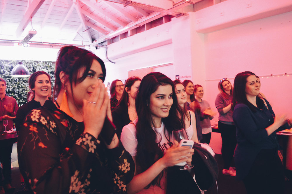 Shimada ( left ) at the #TrueLoveIs launch party.  Guests are the first to hear that Prepair NZ have partnered with Glassons.