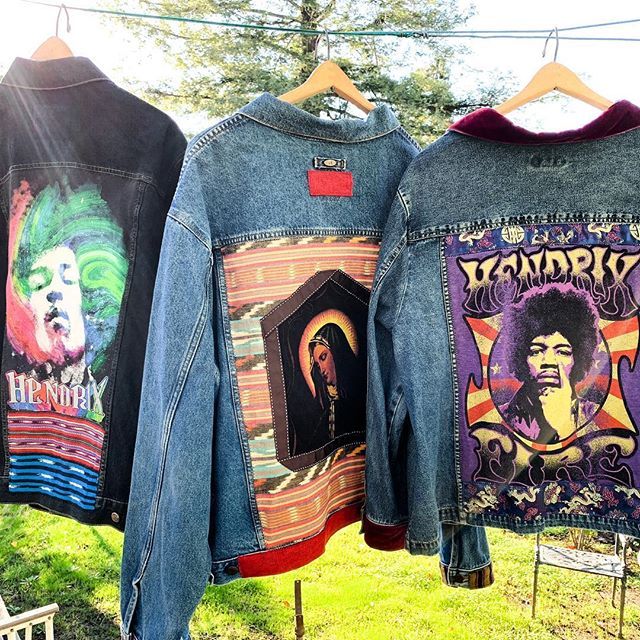 ✨New Year, new statement pieces.✨ #adornmentsforthesoul  #jimihendrix #lavirgendeguadalupe #vintagedenimjacket #upcycledfashion