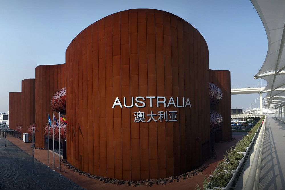 View from the back of the pavilion - it's iconic shape is a play on both the outback landscapes as well as city blocks.