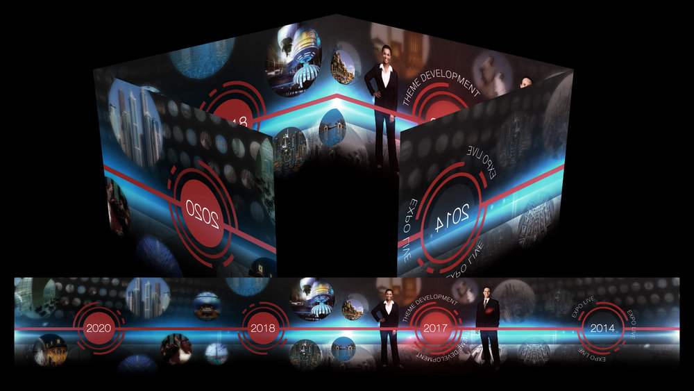 Think OTS Creative Pete Ford creates a little scale. Front screens are projected - insides are LED. Always moving.