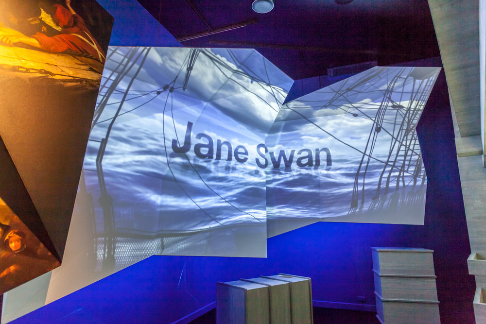 Projection mapping allowed us to create layers for the media exhibits for a more bespoke and dynamic experience. Screens sat in with printed graphic panels to create a strong graphic look.