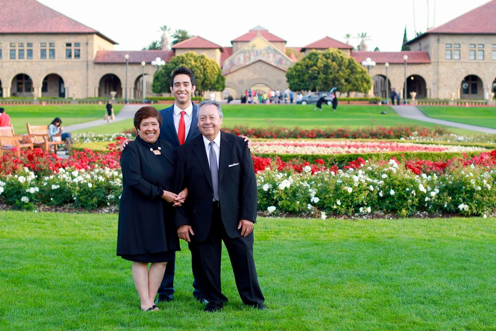 Destined for X founder, Joshua Mendoza, pictured with mother (Hilda Mendoza) and father (Salvador Mendoza) at Stanford University.